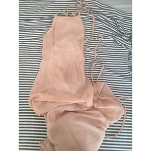 Nude/Light Pink Maxi Dress with Lace-Up Back